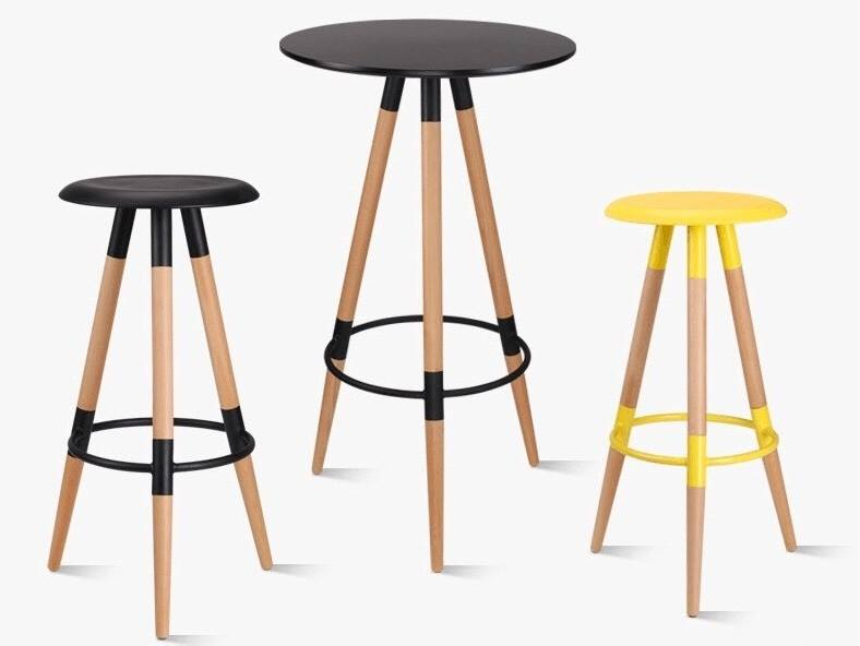 Bộ bàn ghế bar chân gỗ TG 6768C