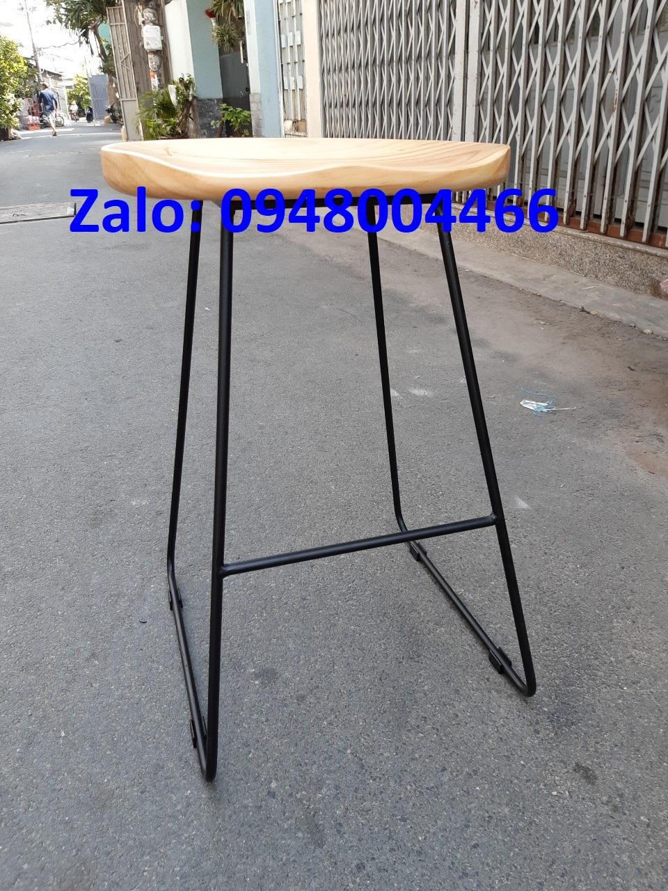 Ghế quầy cao chân sắt mặt gỗ tg6980